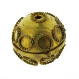 Sfera lavorata da mm 25 in ottone con foro passante