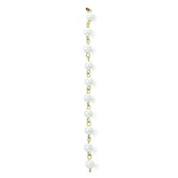Catena con perla cultra da mm 5 su cong. in ottone