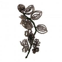 Fiore con lavorazione in filo e conterie in metallo galvanizzato nickel