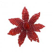 Fiore in conteria rosso diam. cm 5 circa