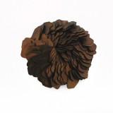 Accessorio in pelle+metallo ottone antico diam. cm 6.5 circa
