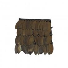 Accessorio in pelle+metallo ottone antico cm 4.5x4.5 circa