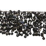 Passamaneria in ottone con paillettes nere alt. cm 5 circa a mt
