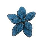 Fiore in metallo+conteria turchese diam circa cm 8