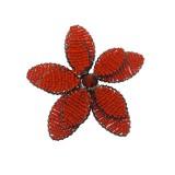 Fiore in metallo+conteria corallo diam circa cm 8