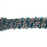 Catena  c/anelli+paillettes azzurre alt. cm 2.5 circa