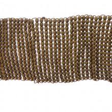 Applicazione rettangolare in metallo con sfere in ottone e filo in rame 22 x 4 cm