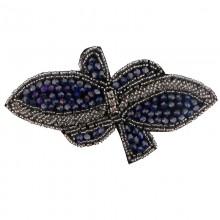 Applicazione farfalla con cristallo blu cucito a mano 13.5 x 7 cm