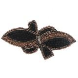Applicazione farfalla con cristallo nero cucito a mano 13.5 x 7 cm