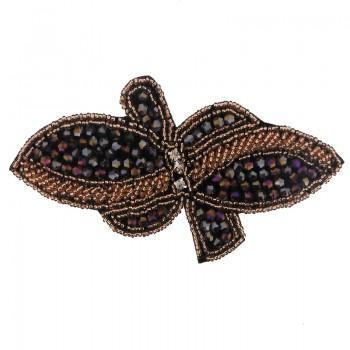 Applicazione farfalla con cristallo scarabeo cucito a mano 13.5 x 7 cm