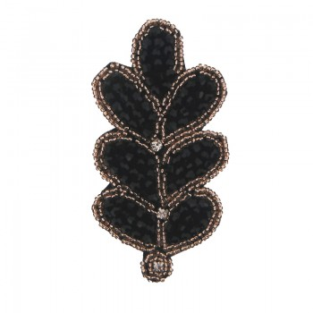 Applicazione foglia con cristallo nero cucito a mano 10 cm