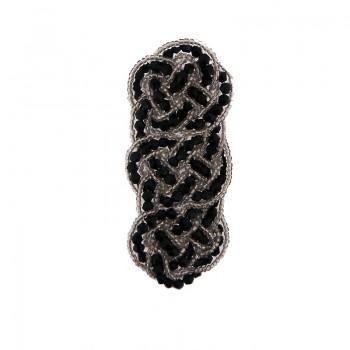 Applicazione intreccio con cristallo nero cucito a mano 9 cm