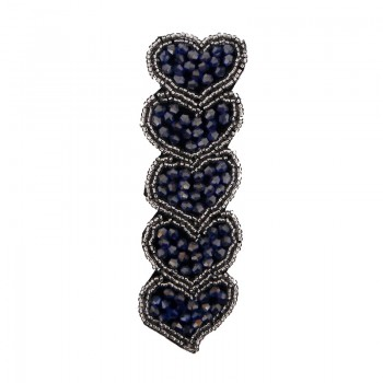 Applicazione cuori con cristallo blu cucito a mano 11,5 cm