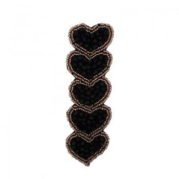 Applicazione cuori con cristallo nero cucito a mano 11.5 cm