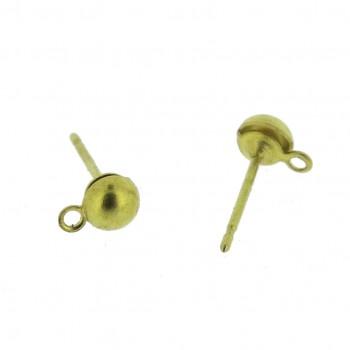 Perno per orecchino a mezza sfera da mm 4 con anello