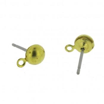 Perno per orecchino a mezza sfera da mm 5 con anello