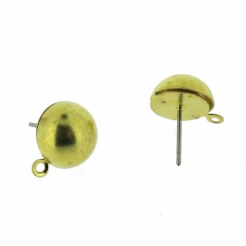 Perno per orecchino a mezza sfera da mm 8 con anello