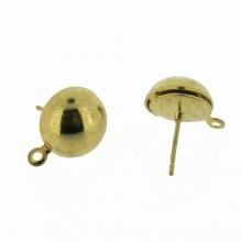 Perno per orecchino a mezza sfera da mm.11 con anello