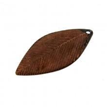 Paillette a foglia con foro in ferro ramato mm 24