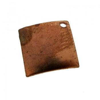 Paillette quadrata con foro in ferro ramato mm 10 x 10