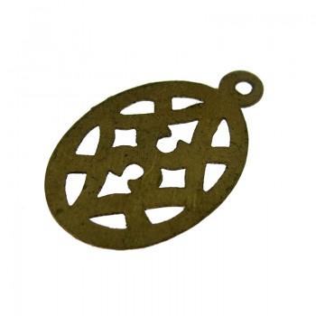 Paillette ovale in ottone lavorato con anello mm 24 x 15