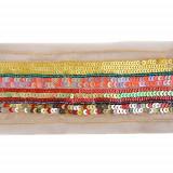 Passamaneria con file di conterie colorate h. 5 cm