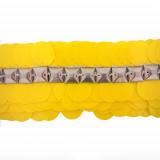 Passamaneria con paillettes gialle e pietre in metallo h. 8 cm