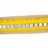 Passamaneria con paillettes gialle e pietre in plexi h. 4 cm