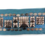 Passamaneria con particolari metallici su base turchese h. 5 cm