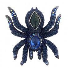 Spilla a forma di ragno blu con strass 7 x 6 cm