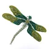Spilla a forma di libellula verde 13 x 10 cm