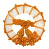 Accessorio in resina tondo con crochet e nappe 65 mm