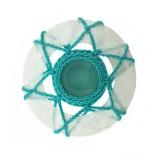 Accessorio in resina tondo con crochet e pietra 6.5 cm