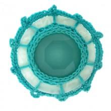 Accessorio in resina tondo con crochet e pietra 40 mm