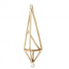Accessorio in metallo oro triangolare con 2 anelli 7 cm