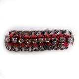 Morsetto in catena nikel nero e strass con filo rosso mm 80