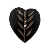 Bottone in conchiglia a cuore con 2 fori circa cm 2.5x2.5