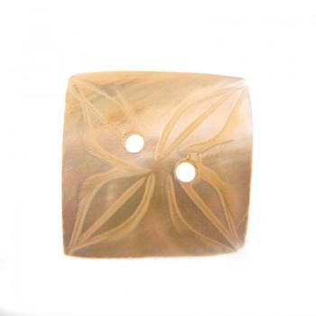 Bottone in conchiglia quadrata con 2 fori mm 19x19