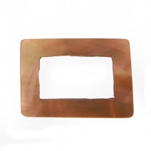 Rettangolo irregolare in conchiglia 35x25 mm (brown lip)
