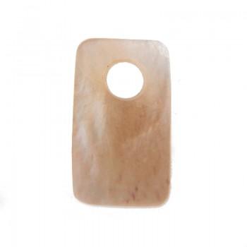 Rettangolo con foro in conchiglia cm 2x1.5 circa (hammer shell)