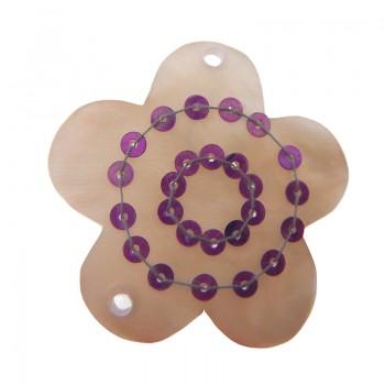 Fiore in conchiglia con fori e paillettes viola circa cm 3.5