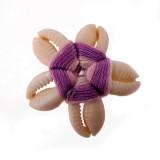 Fiore a 5 conchiglie+filo viola (sigay shell) circa cm 3