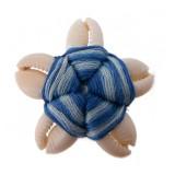 Fiore a 5 conchiglie+filo blu (sigay shell) circa cm 3