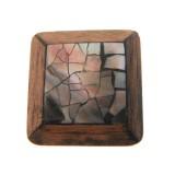 Quadrato conchiglia mm 24x24 black lip+gray wood