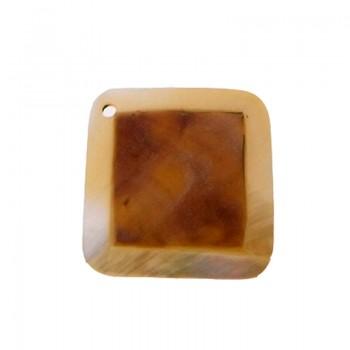 Quadrato in conchiglia black lip naturale/grezza cm 2.5 con foro