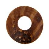 Disco con foro in conchiglia mop grezza ( cm 5.5 esterno, cm 2 interno )