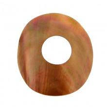 Disco con foro in conchiglia brown lip ( cm 5.5 esterno, cm 2 interno )