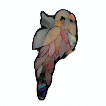 Uccello in resina e conchiglia con fori 75 mm