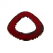 Forma irregolare in conchiglia rosso con bordo in metallo 5x4 mm