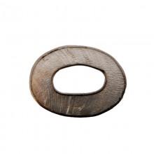 Ovale in conchiglia argento con bordo in metallo mm 4x3